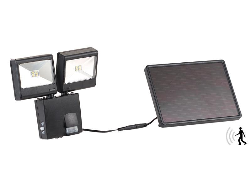 luminea solar led strahler duo solar led au enstrahler mit pir bewegungssensor 6 w 480 lm. Black Bedroom Furniture Sets. Home Design Ideas