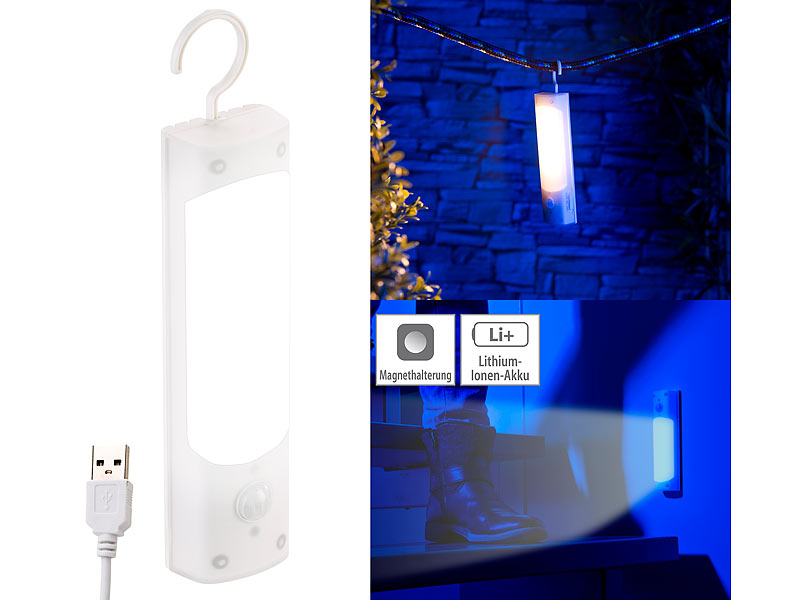 lunartec usb led leuchte 4in1 akku led lampe mit bewegungsmelder und usb ladefunktion 1 2 watt. Black Bedroom Furniture Sets. Home Design Ideas