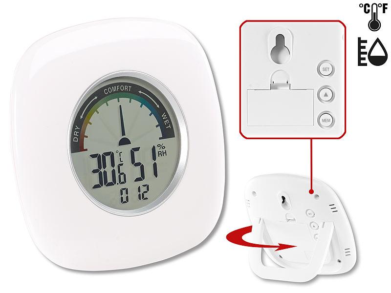 Digitales XXL Thermometer, Hygrometer & Uhr, grafische Anzeige, 10 cm