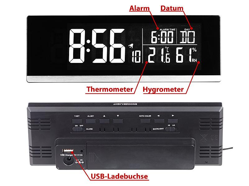 Tisch-Funkwecker mit Thermometer, Hygrometer und USB-Ladebuchse, 2 A