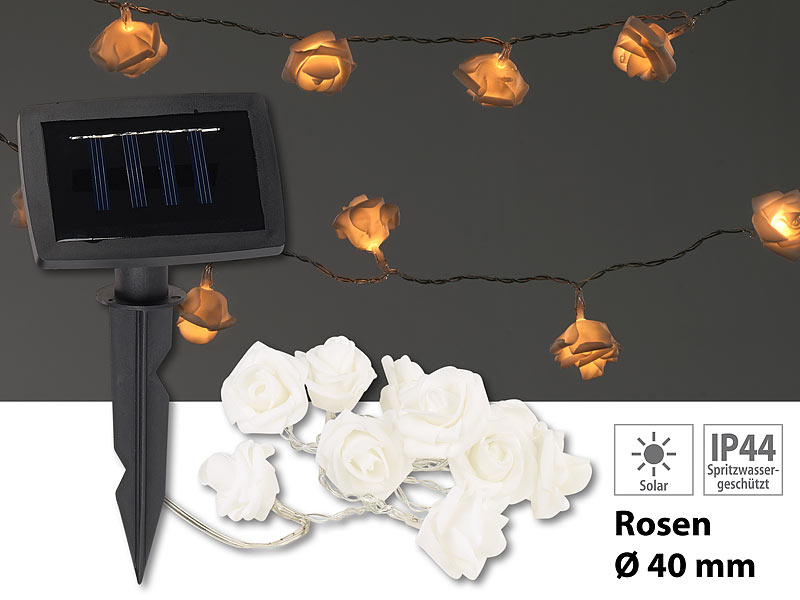 lunartec lichterketten ohne strom solar led lichterkette mit 10 wei en rosen warmwei ip44 1. Black Bedroom Furniture Sets. Home Design Ideas