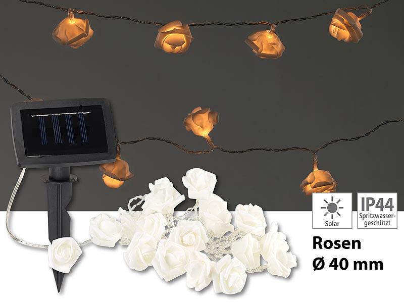lunartec led warmlichterketten solar led lichterkette mit 20 wei en rosen warmwei ip44 2 m. Black Bedroom Furniture Sets. Home Design Ideas