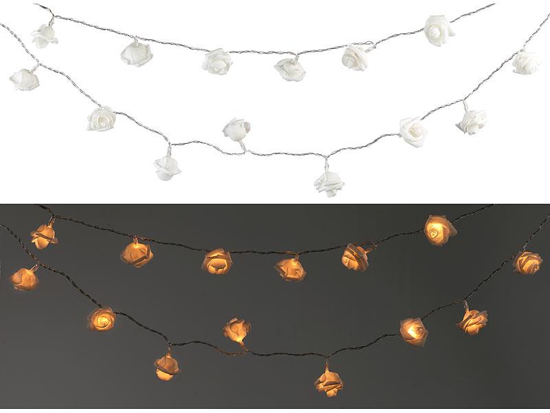 lunartec partylichterketten au en solar led lichterkette mit 20 wei en rosen warmwei ip44 2. Black Bedroom Furniture Sets. Home Design Ideas