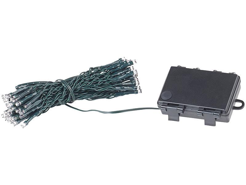 lunartec led lichterkette mit 50 leds timer batterie warmwei 5 m ip44. Black Bedroom Furniture Sets. Home Design Ideas