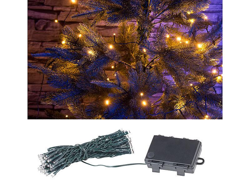 Batterie Weihnachtsbeleuchtung Aussen.Lunartec Lichteketten Led Lichterkette Mit 50 Leds Timer Batterie