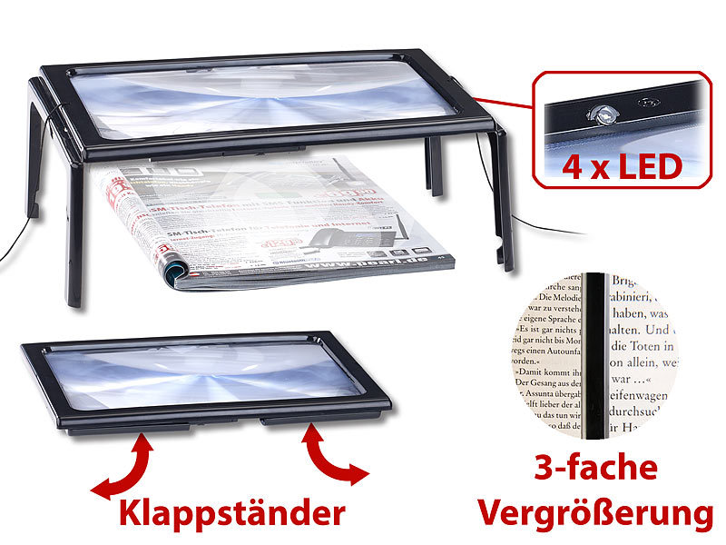 Leselupe Mit Beleuchtung | Agt Lupe Xxl Leselupe Mit 3 Facher Vergrosserung 4 Leds Und