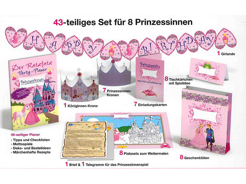 ratzfatz party paket prinzessinnen 7 einladungskarten deko basteln. Black Bedroom Furniture Sets. Home Design Ideas