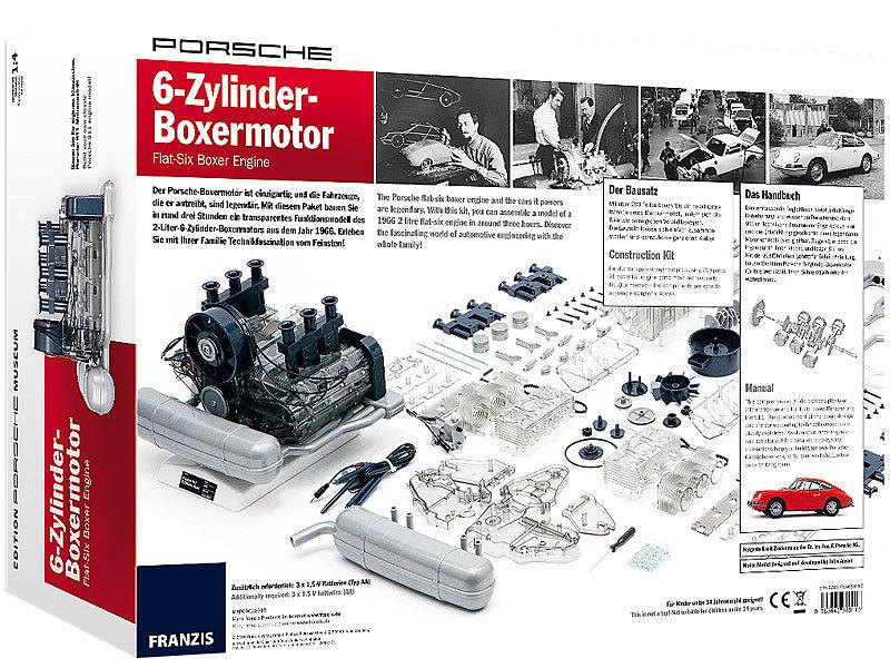 franzis baukasten programm modellbausatz porsche 6 zylinder boxermotor ma stab 1 4 280 teile. Black Bedroom Furniture Sets. Home Design Ideas