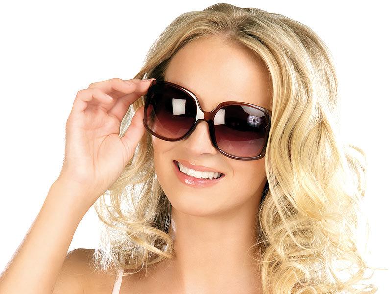PEARL Damen Sonnenbrille: Butterfly-Sonnenbrille mit braunen Gläsern ...