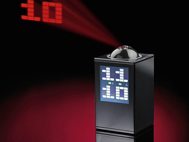infactory lcd projektionsuhr tower mit thermometer und 3 weckzeiten. Black Bedroom Furniture Sets. Home Design Ideas
