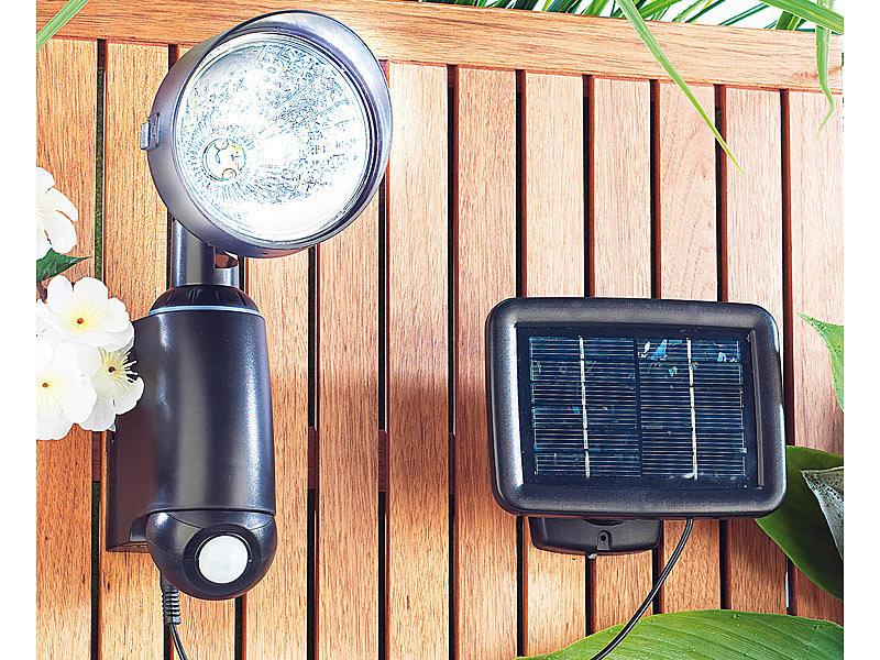 lunartec solarstrahler mit ultraheller 1 watt led und pir bewegungssensor. Black Bedroom Furniture Sets. Home Design Ideas
