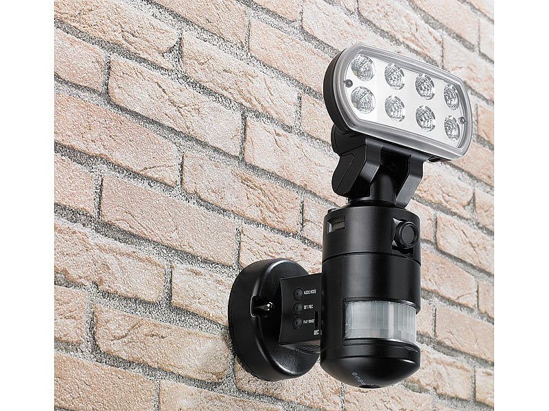 visortech video verwachung berwachungskamera flk 20 led flutlicht bewegungsmelder. Black Bedroom Furniture Sets. Home Design Ideas