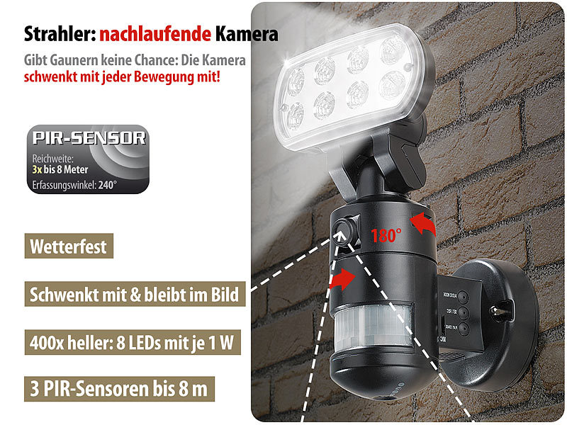 visortech led strahler mit kamera berwachungskamera flk 20 led flutlicht bewegungsmelder. Black Bedroom Furniture Sets. Home Design Ideas