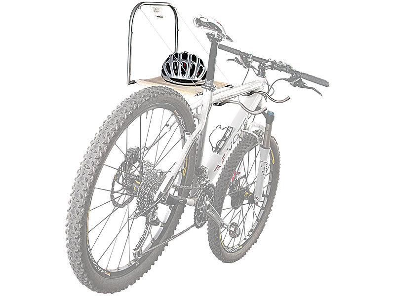 AGT Fahrradhalterung: Universal-Fahrrad-Wandhalterung mit Ablage \
