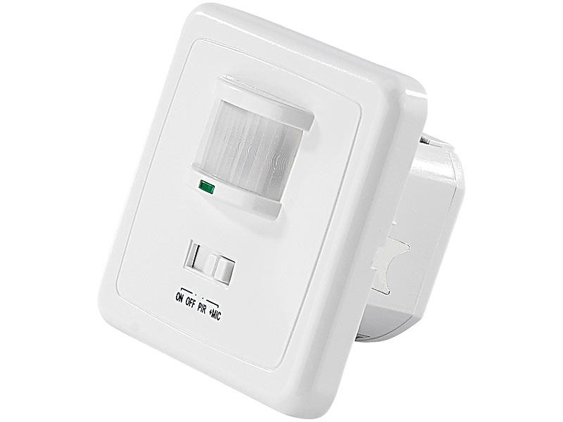 revolt bewegungsmelder schalter automatischer lichtschalter mit pir und akustik sensor. Black Bedroom Furniture Sets. Home Design Ideas
