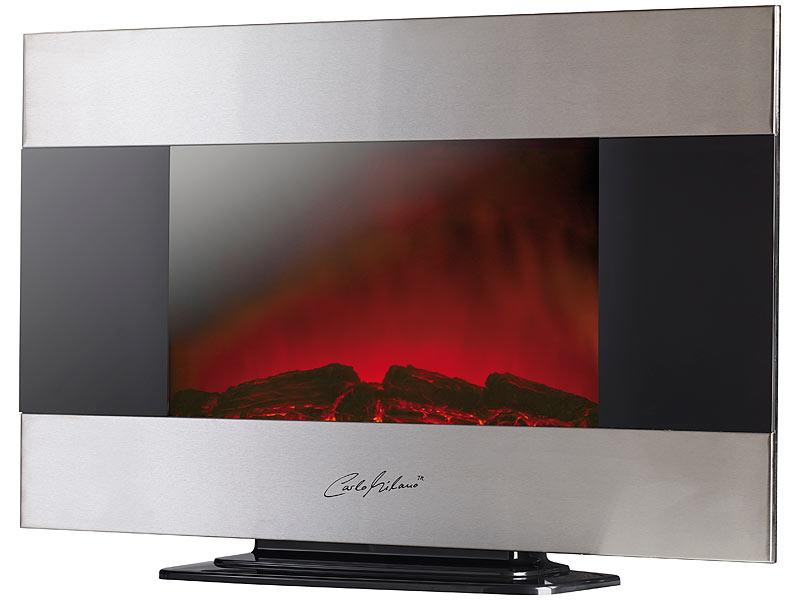 Carlo Milano Premium-Elektrokamin für Wand- und Standmontage, 90x56 cm