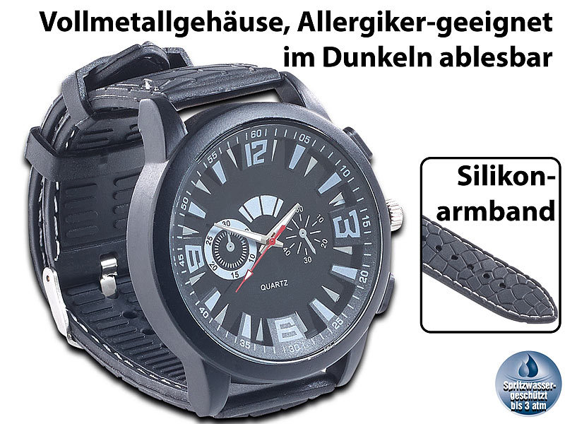 Crell Armbanduhr Silikon: Armbanduhr im Chronographen Look