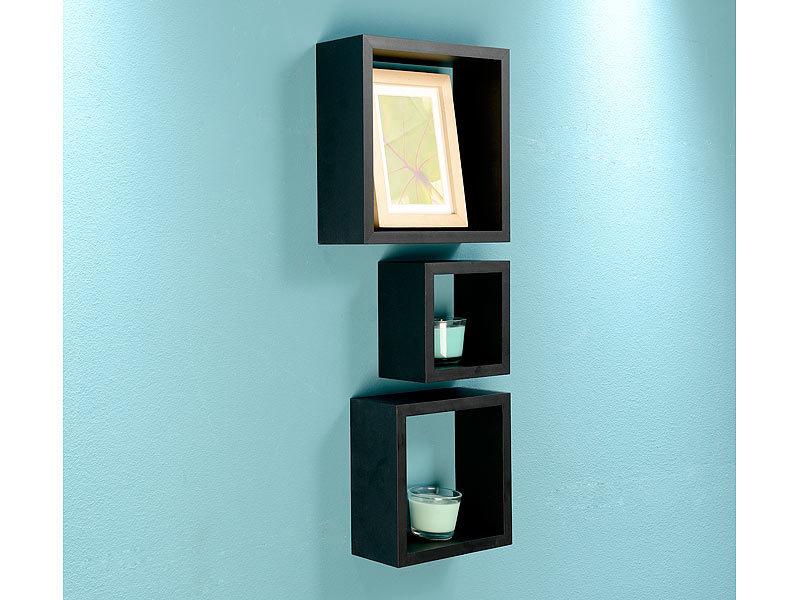 carlo milano b cherregal 3er set quadratische wandregale. Black Bedroom Furniture Sets. Home Design Ideas