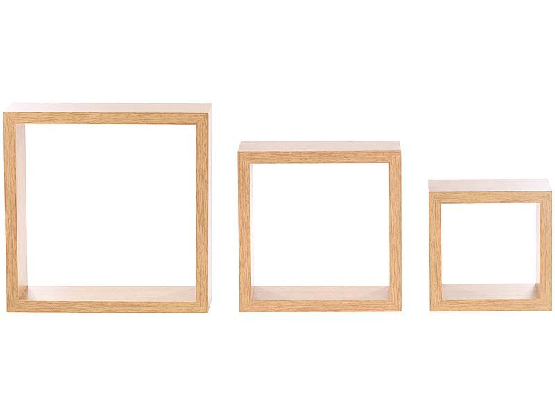 carlo milano schwebendes wandregal 3er set quadratische. Black Bedroom Furniture Sets. Home Design Ideas
