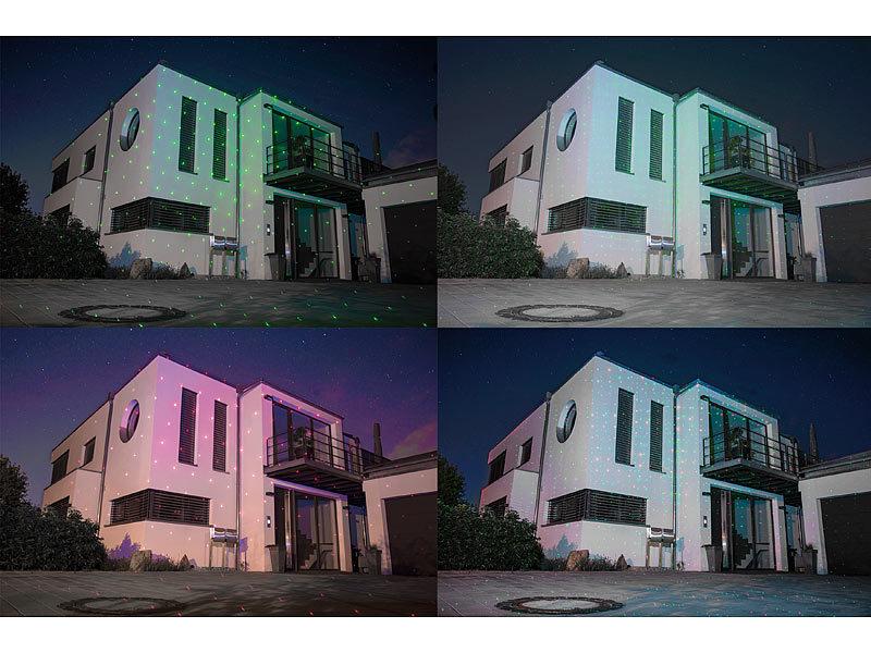 lunartec star shower laser projektor bewegter sternen regen lichteffekt rot gr n ip44. Black Bedroom Furniture Sets. Home Design Ideas