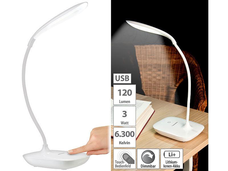 pearl schwanenhals schreibtischlampe mit 3 watt cob led akku usb ladung. Black Bedroom Furniture Sets. Home Design Ideas
