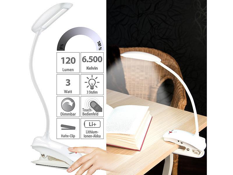 Lunartec Schwanenhals Klemm Lampe Mit 3 Watt COB LED Und Akku USB Ladefunktion