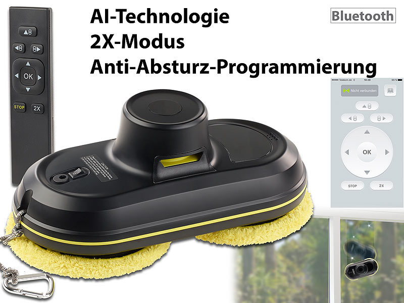 sichler fensterreiniger intelligenter profi fensterputz roboter v4 bluetooth app fernbed. Black Bedroom Furniture Sets. Home Design Ideas