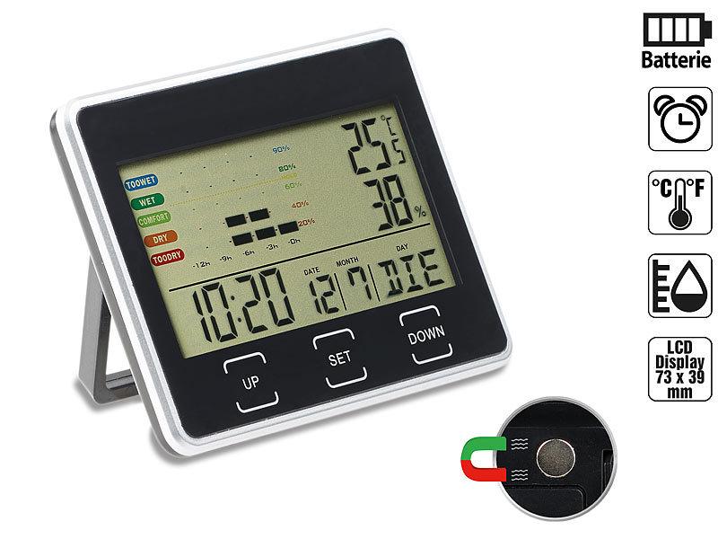 Digitaler Wecker mit Kalender, Thermometer und Hygrometer