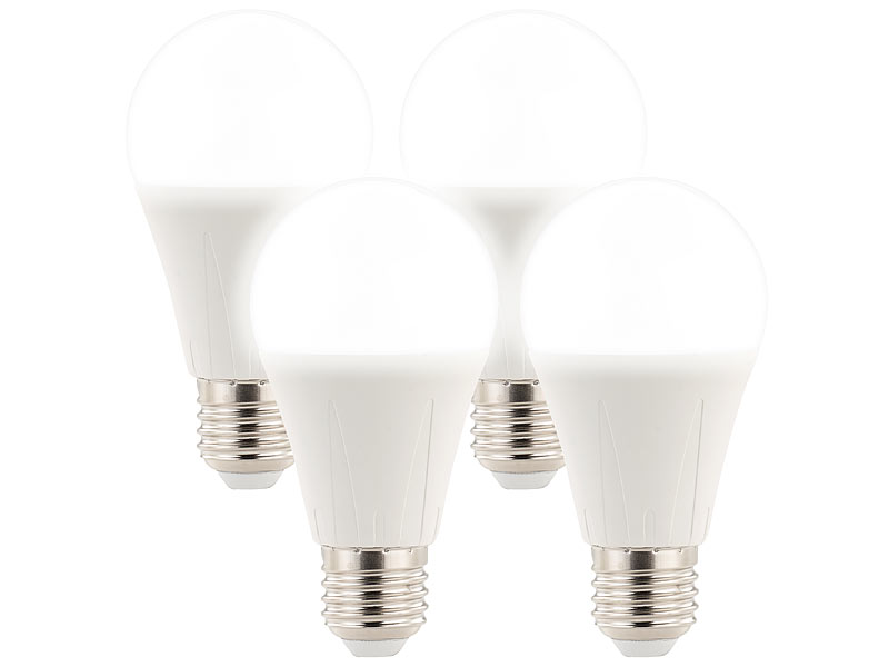 Luminea Energiesparlampe E27: 4er-Set lichtstarke LED-Lampen E27, 10 ...