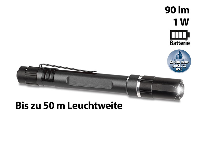 Profi-Pen-Light LED-Taschenlampe m. Cree-LED, 90 lm, 1 Watt, Alu, IPX3