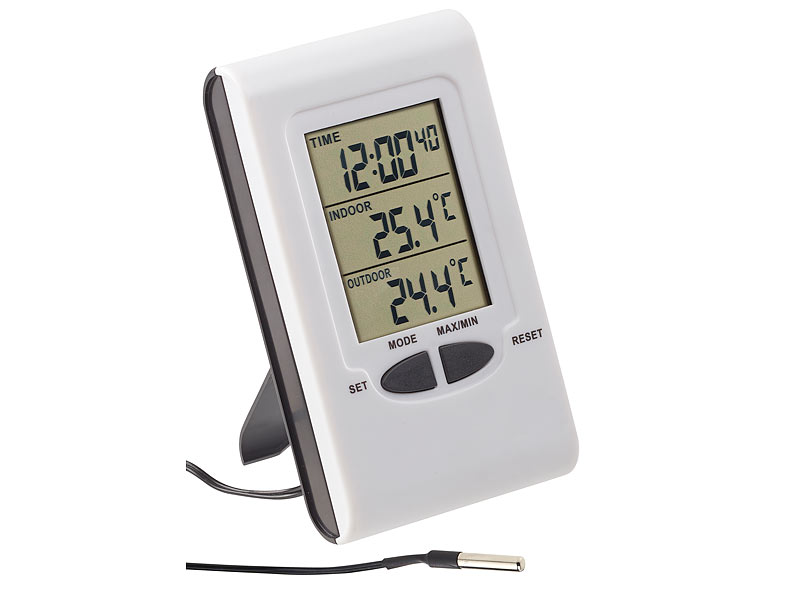 pearl aussenthermometer digitales innen und au en thermometer mit lcd display und uhrzeit. Black Bedroom Furniture Sets. Home Design Ideas