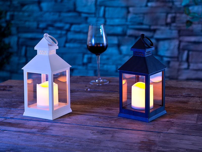 lunartec grablaterne laterne mit flackernder led kerze und timer batteriebetrieb schwarz. Black Bedroom Furniture Sets. Home Design Ideas