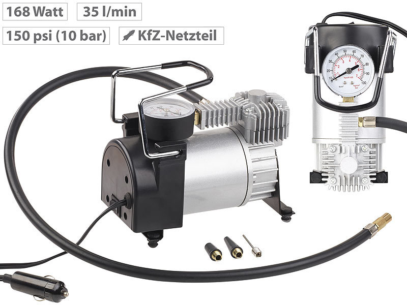 lescars mini luft kompressor mit manometer 12 v 100 psi 168 watt 3 adapter. Black Bedroom Furniture Sets. Home Design Ideas