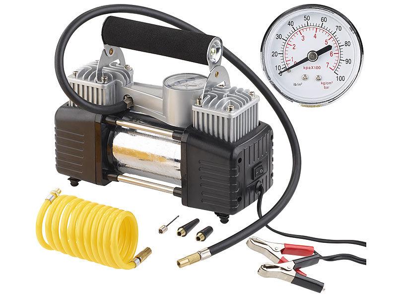 lescars mobiler luft kompressor manometer 12 v 100 psi 288 watt 3 adapter. Black Bedroom Furniture Sets. Home Design Ideas