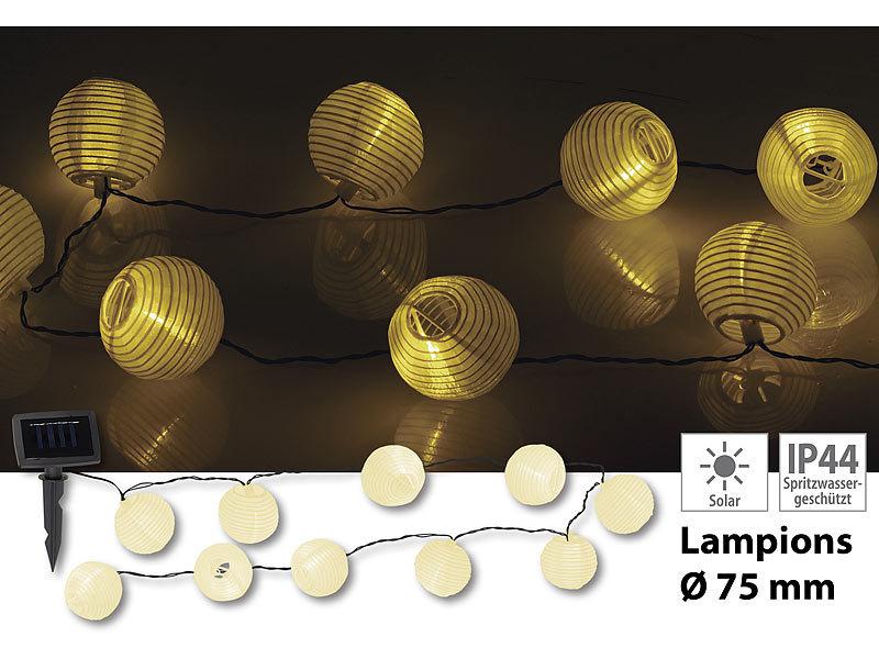 lunartec solar lampion wetterfest solar lampion lichterkette mit 10 warmwei en leds ip44 3 8. Black Bedroom Furniture Sets. Home Design Ideas