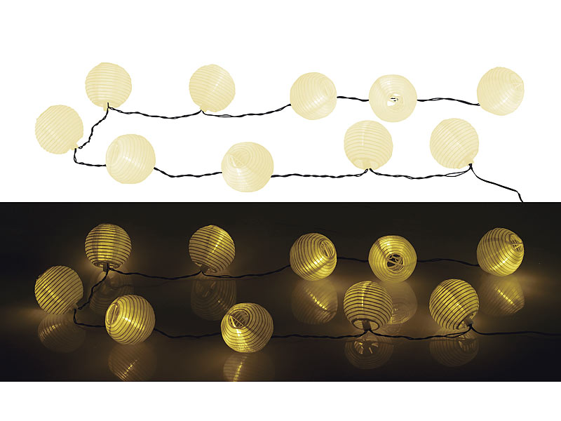 lunartec solar lampion lichterkette mit 10 warmwei en leds. Black Bedroom Furniture Sets. Home Design Ideas