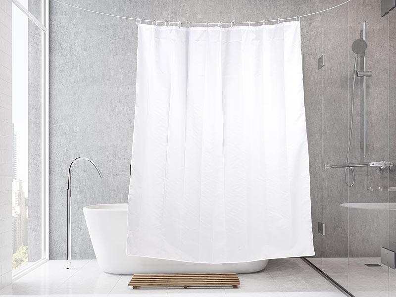 badestern dusch vorhang anti schimmel duschvorhang wei 180 x 200 cm 12 befestigungsringe. Black Bedroom Furniture Sets. Home Design Ideas
