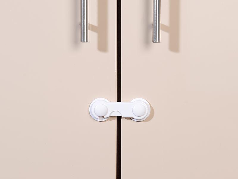 cybaby schranksicherung 10er set baby sicherungen f r zimmer und schrank t ren klebend wei. Black Bedroom Furniture Sets. Home Design Ideas
