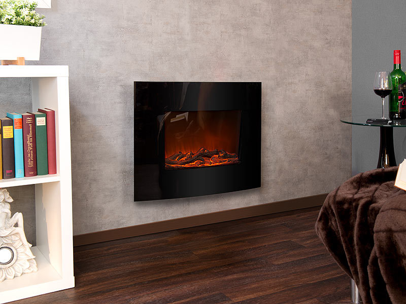 carlo milano zimmerkamin elektrischer kamin ignis mit heizl fter feuer effekt zur wandmontage. Black Bedroom Furniture Sets. Home Design Ideas