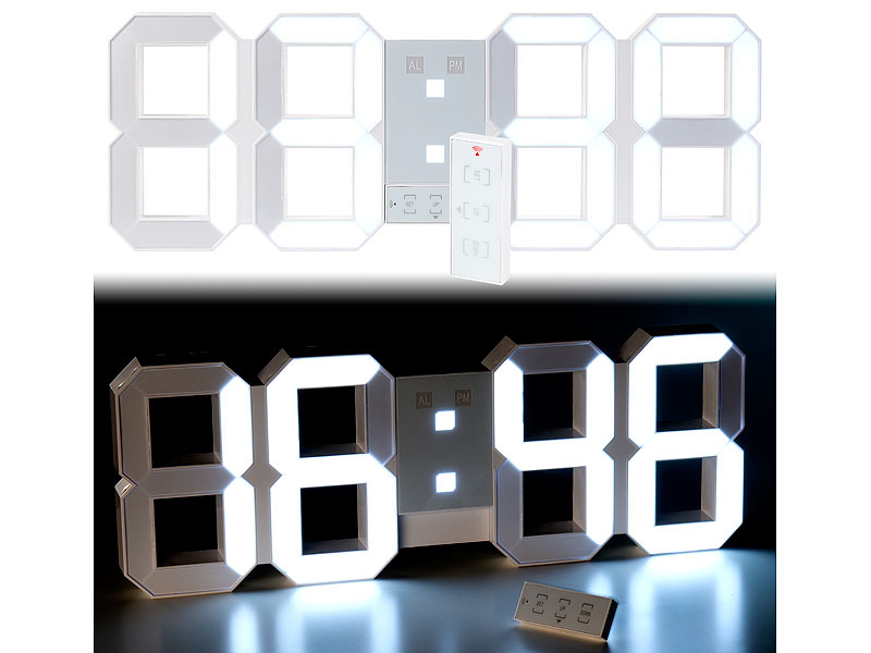Lunartec Digitale XXL LED Tisch Amp Wanduhr 45 Cm Dimmbar