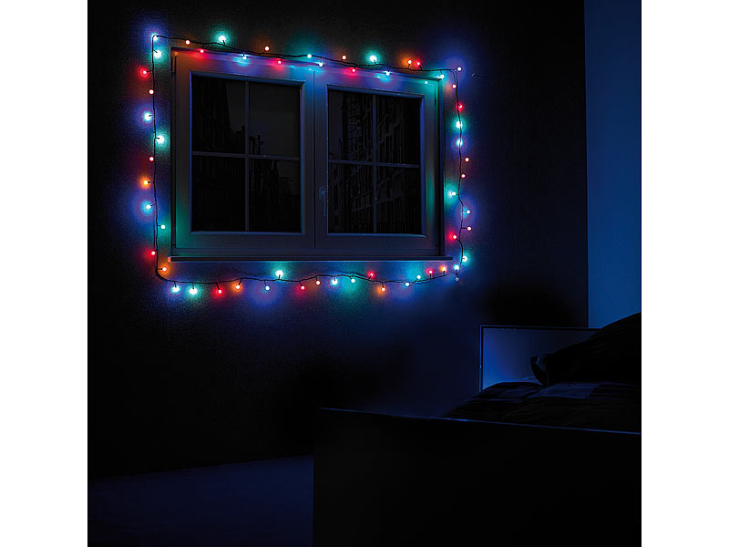Lunartec led lichterkette rgb mit controller ip44 9 m - Led lichterkette bunt mit fernbedienung ...