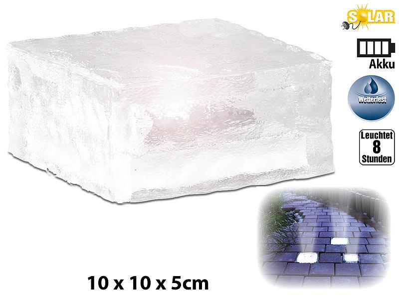 lunartec solar led glasbaustein mit lichtsensor 4er set gro 10x10cm. Black Bedroom Furniture Sets. Home Design Ideas