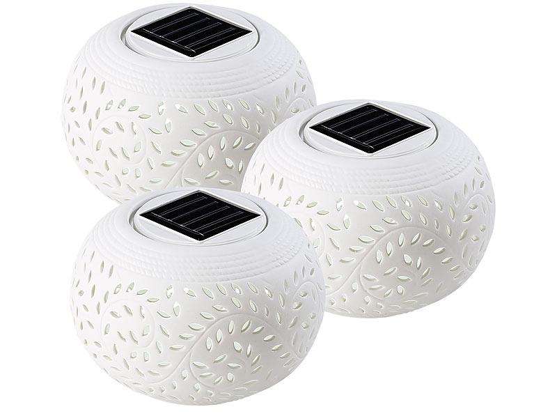 lunartec windlichter solar dekoleuchte aus porzellan 3er set farbwechsel warmwei solar. Black Bedroom Furniture Sets. Home Design Ideas