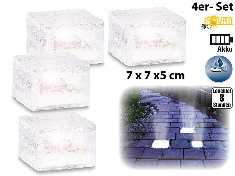 lunartec led pflastersteine solar led glasbaustein mit lichtsensor 4er set klein 7x7 cm. Black Bedroom Furniture Sets. Home Design Ideas