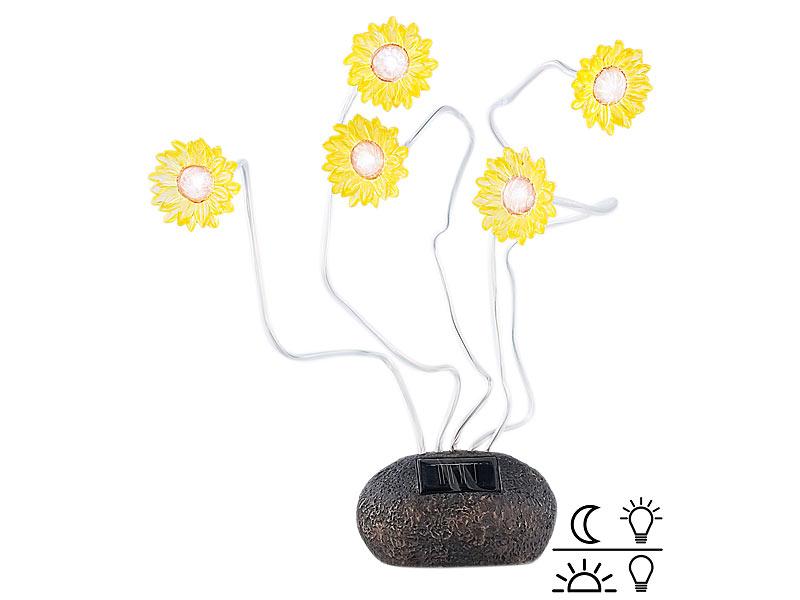 Lunartec Solar-Licht Blume: Solar-Sonnenblumen mit Lichtsensor ...