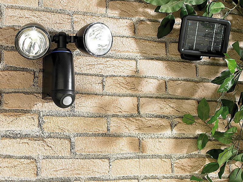 lunartec duo solar strahler mit 1 watt leds pir. Black Bedroom Furniture Sets. Home Design Ideas