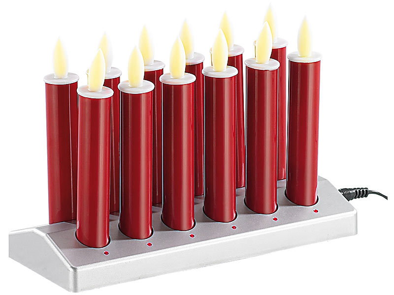 lunartec 12 stimmungsvolle led akku kerzen mit edelstahl haltern rot. Black Bedroom Furniture Sets. Home Design Ideas