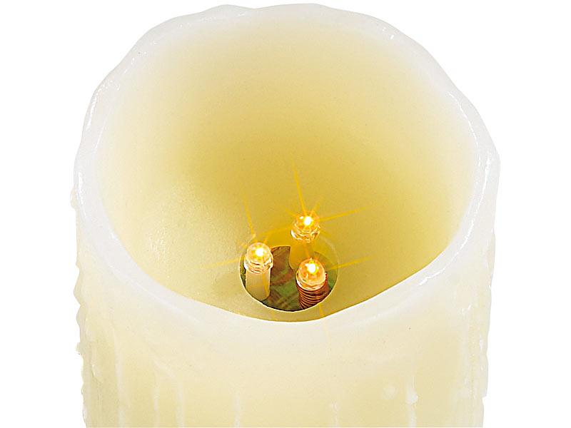 lunartec led echtwachskerzen mit candle led funk fernbedienung 3er set. Black Bedroom Furniture Sets. Home Design Ideas
