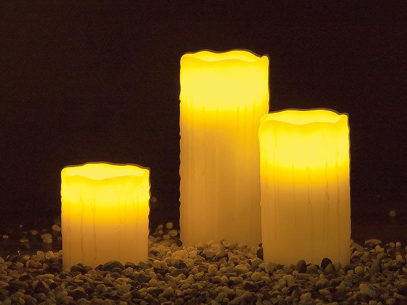 lunartec led kerzen set led echtwachskerzen mit candle led funk fernbedienung 3er set led. Black Bedroom Furniture Sets. Home Design Ideas