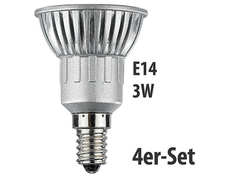 LED-Spot 3x 1W-LED, kaltweiß, E14, 250 lm, 4er-Set